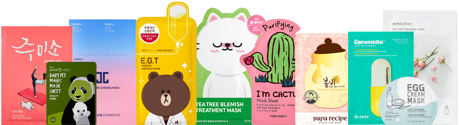 Ten K-beauty Face sheet Masks